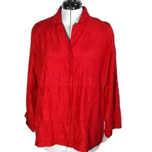 Chico's red embroidered jacket